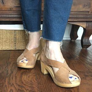Anthropologie Sandgrens Swedish clogs wooden soles